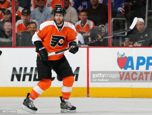 Andrew MacDonald of the Philadelphia Flyers skates against the New York Rangers in Game Four of the First Round of the 2014 Stanley Cup Playoffs at...