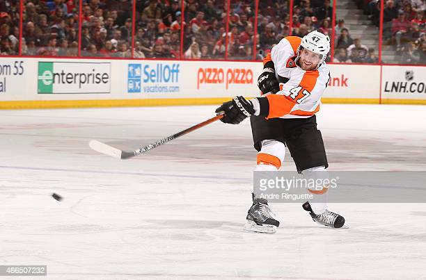 Andrew MacDonald of the Philadelphia Flyers skates against the Ottawa Senators at Canadian Tire Centre on March 15 2015 in Ottawa Ontario Canada