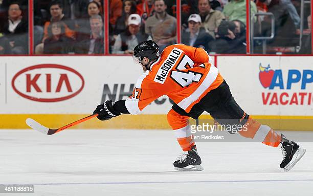 Andrew MacDonald of the Philadelphia Flyers takes a slapshot against the Los Angeles Kings on March 24 2014 at the Wells Fargo Center in Philadelphia...