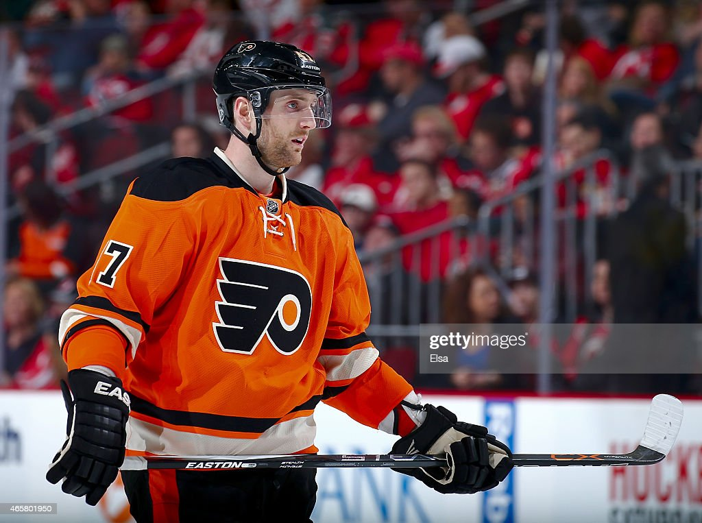Andrew MacDonald #47 of the Philadelphia Flyers waits for the face off against the New Jersey Devils on March 8, 2015 at the Prudential Center in Newark, New Jersey.The New Jersey Devils defeated the Philadelphia Flyers 5-2.