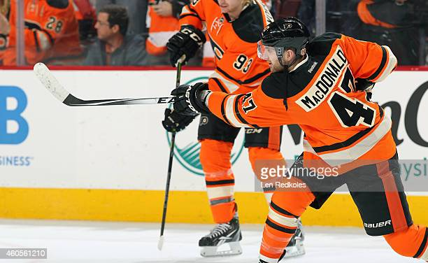 Andrew MacDonald of the Philadelphia Flyers warms up prior to his game against the Carolina Hurricanes on December 13 2014 at the Wells Fargo Center...