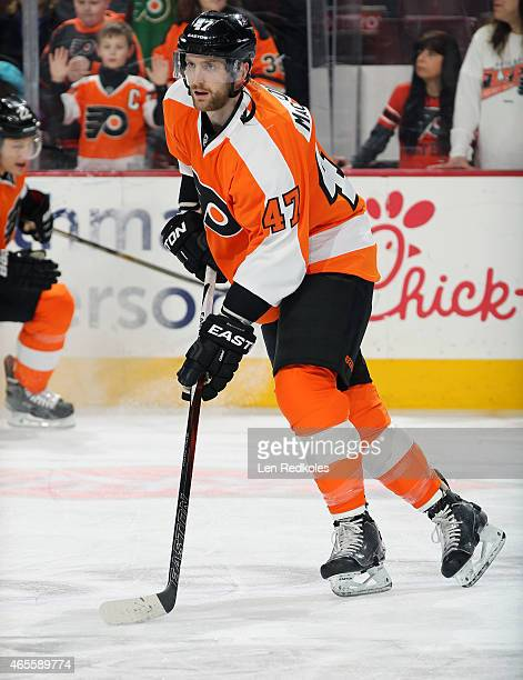 Andrew MacDonald of the Philadelphia Flyers warms up prior to his game against the Calgary Flames on March 3 2015 at the Wells Fargo Center in...