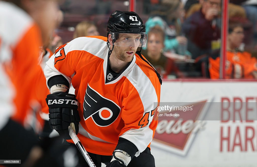 Andrew MacDonald #47 of the Philadelphia Flyers warms up prior to his game against the Dallas Stars on March 10, 2015 at the Wells Fargo Center in Philadelphia, Pennsylvania.