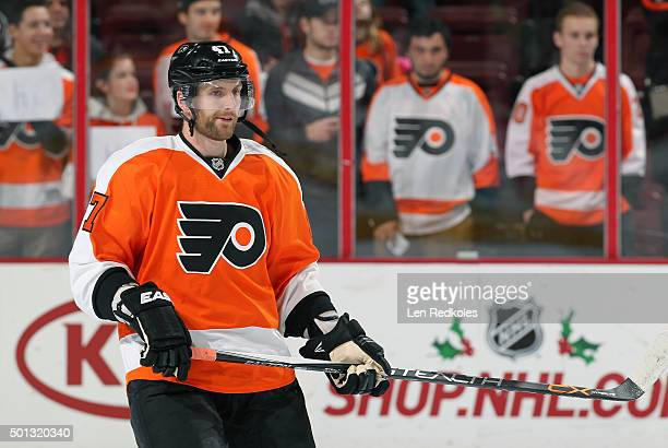 Andrew MacDonald of the Philadelphia Flyers warms up prior to his game against the New York Islanders on December 8 2015 at the Wells Fargo Center in...