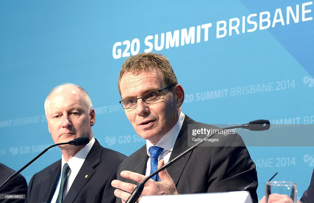 Andrew Mackenzie CEO BHP Billiton and B20 Trade Taskforce Coordinating Chair speaks at a B20 press conference discussing business and the B20 policy...