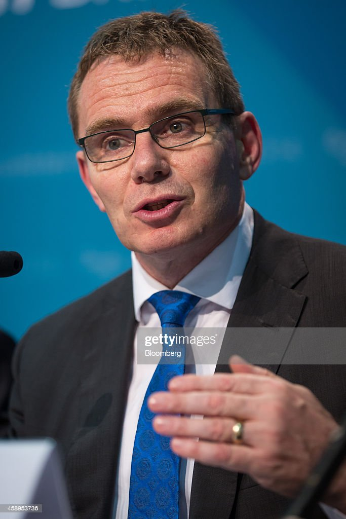 Andrew Mackenzie chief executive officer of BHP Billiton Ltd and member of the B20 group of executives speaks during a news conference ahead of the...