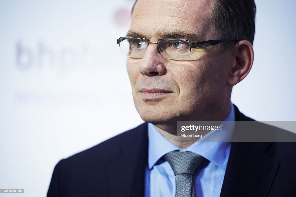 Andrew Mackenzie chief executive officer of BHP Billiton Ltd attends a news conference following the company's annual general meeting in Perth...
