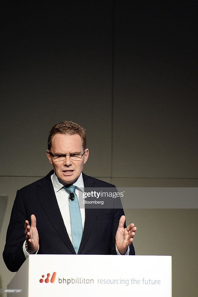 Andrew Mackenzie chief executive officer of BHP Billiton Ltd gestures as he speaks during an analysts' briefing in Melbourne Australia on Tuesday Feb...