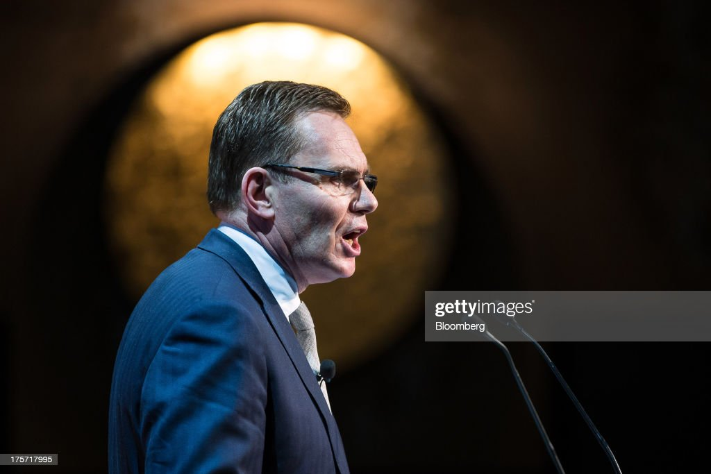 Andrew Mackenzie chief executive officer of BHP Billiton Ltd speaks at an event hosted by the Asia Society in Melbourne Australia on Wednesday Aug 7...