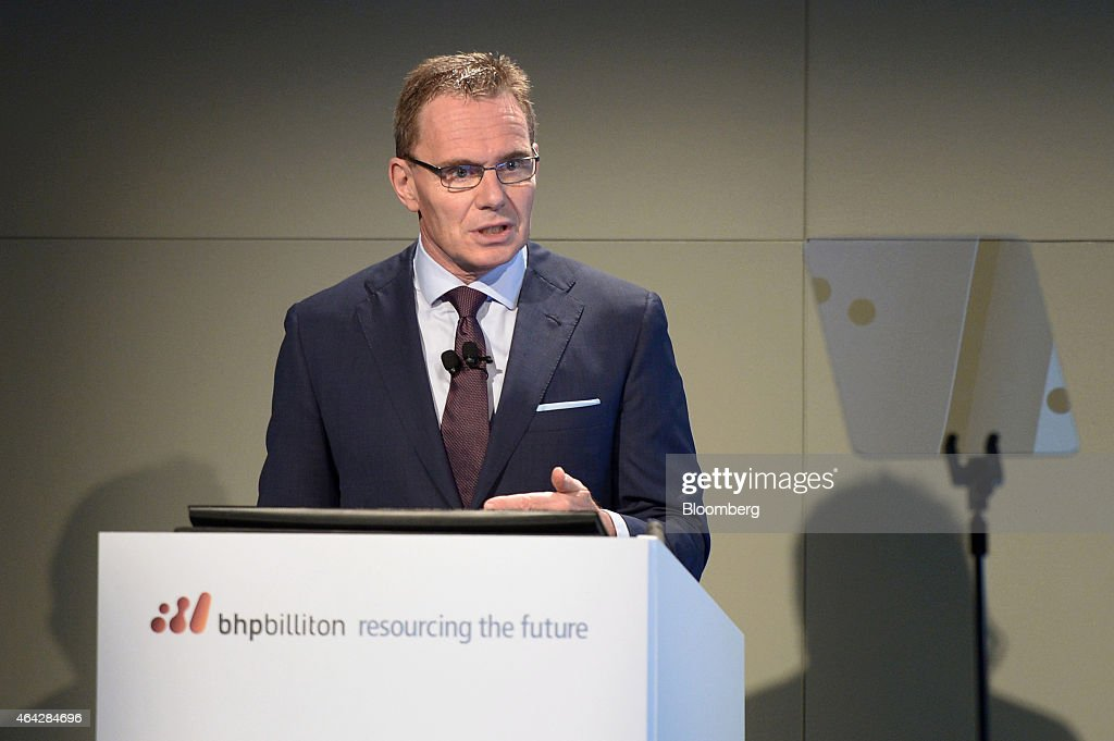 Andrew Mackenzie chief executive officer of BHP Billiton Ltd speaks during an investor briefing at the company's headquarters in Melbourne Australia...
