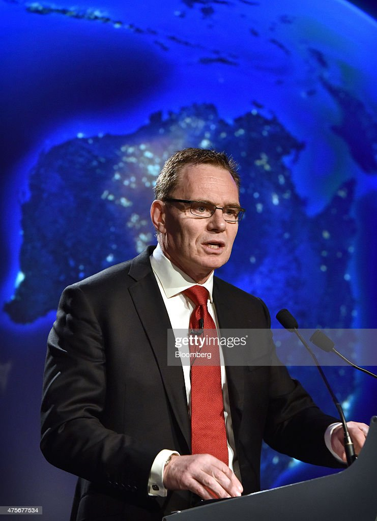 Andrew Mackenzie, chief executive officer of BHP Billiton Ltd., speaks at the Minerals Week seminar in Canberra, Australia, on Wednesday, June 3, 2015. BHP delivered a somber warning to global commodity markets that oversupply is very much here to stay. Photographer: Mark Graham/Bloomberg via Getty Images