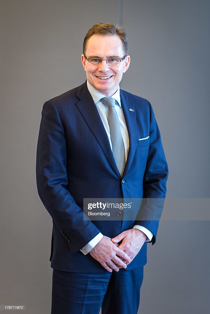 Andrew Mackenzie chief executive officer of BHP Billiton Ltd stands for a photograph at the company's headquarters in Melbourne Australia on...