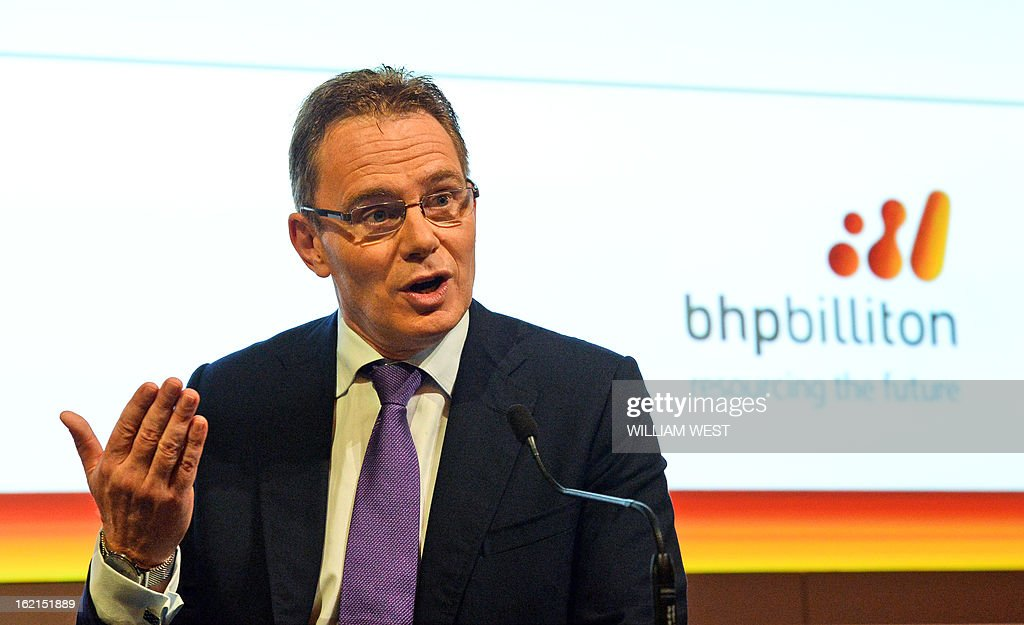 Andrew Mackenzie speaks as it is announced he will be replacing Marius Kloppers as BHP Billiton CEO, in Sydney on February 20, 2013. The 56-year-old Mackenzie, currently chief executive non-ferrous, has over 30 years experience in oil and gas, petrochemicals and minerals and joined BHP Billiton in November 2008. South African Kloppers has been running the world's largest miner since October 2007, steering it through the global financial crisis. AFP PHOTO/William WEST