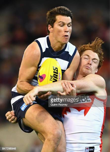 Andrew Mackie of the Cats marks infront of Gary Rohan of the Swans during the Second Semi Final AFL match between the Geelong Cats and the Sydney...