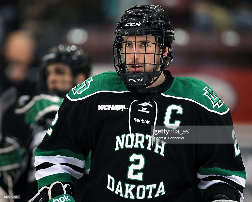 Andrew MacWilliam #2 of North Dakota warms up before a game with Minnesota January 19, 2013 at Mariucci Arena in Minneapolis, Minnesota.