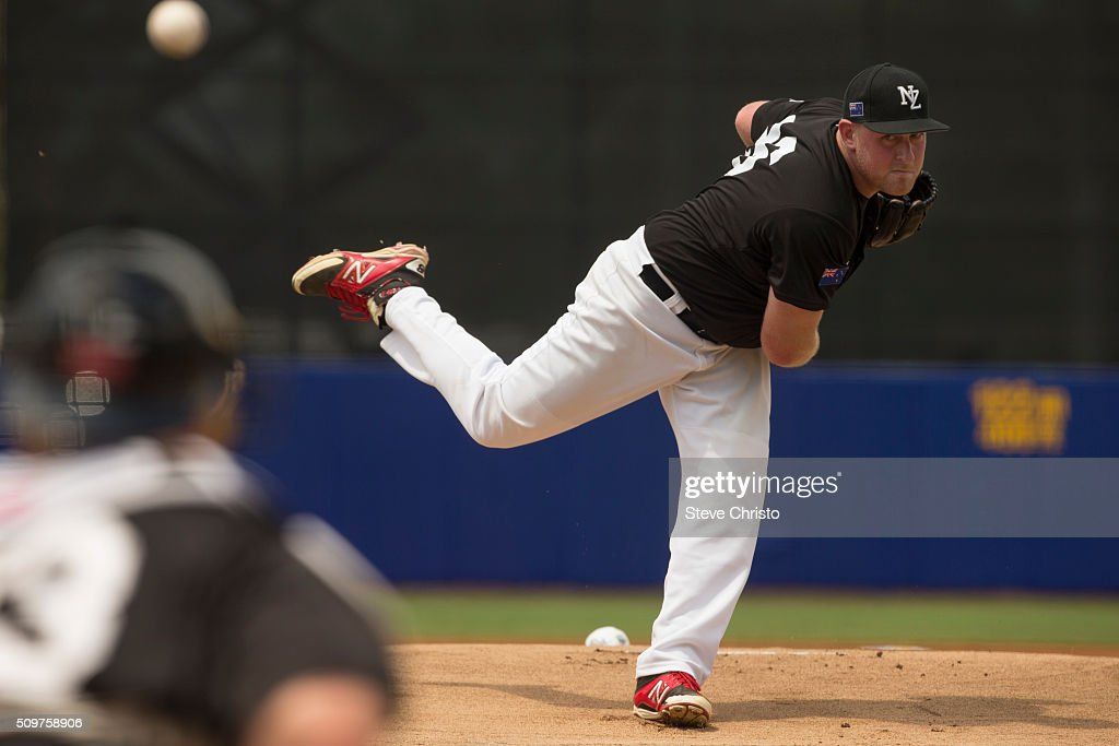 Andrew Marck #26 of Team New Zealand pitches during Game 3 of the World Baseball Classic Qualifier against Team Philippines at Blacktown International Sportspark on Friday, February 12, 2016 in Sydney, Australia.