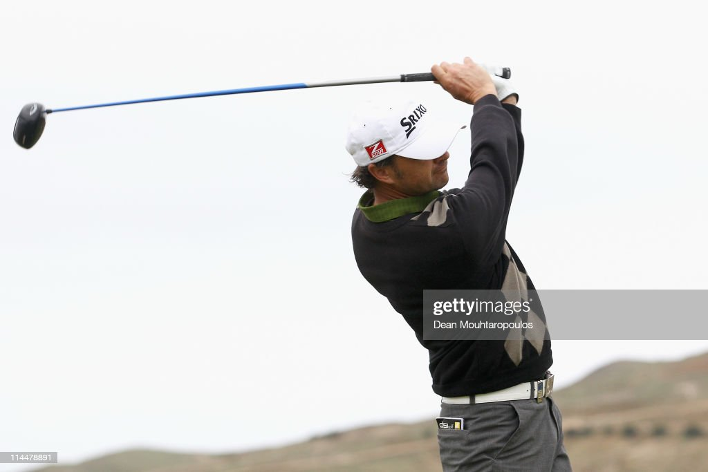 Andrew Marshall of England hits his tee shot on the 1st hole during day three of the Madeira Islands Open on May 21, 2011 in Porto Santo Island, Portugal.