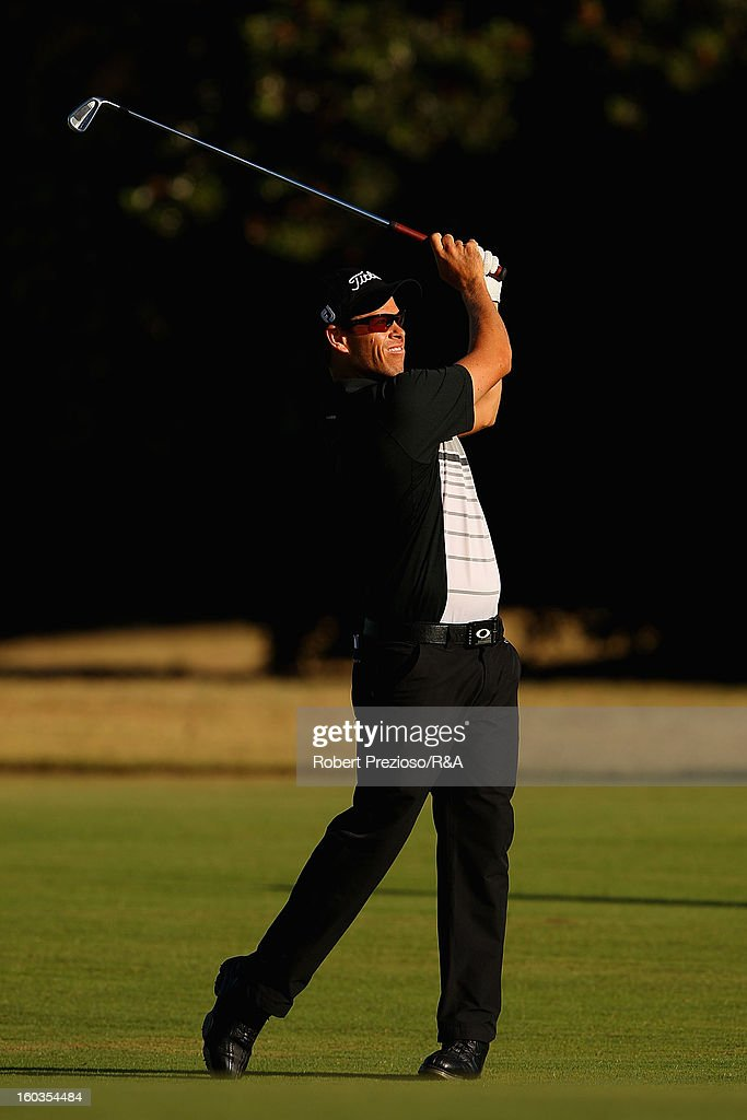 Andrew Martin of Australia plays a shot on the 1st hole during day two of the British Open International Final Qualifying Australasia at Kingston Heath Golf Club on January 30, 2013 in Melbourne, Australia.