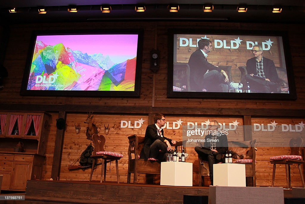 Andrew Mason (L), CEO of Groupon, and David Kirkpatrick, CEO of Techonomy Media speak during the Digital Life Design conference (DLD) at HVB Forum on January 23, 2012 in Munich, Germany. DLD (Digital - Life - Design) is a global conference network on innovation, digital, science and culture which connects business, creative and social leaders, opinion-formers and investors for crossover conversation and inspiration.