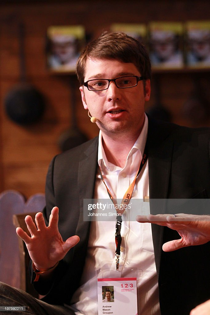 Andrew Mason CEO of Groupon speaks during the Digital Life Design conference at HVB Forum on January 23 2012 in Munich Germany DLD is a global...