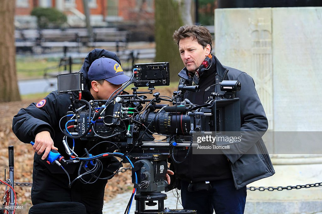 <a gi-track='captionPersonalityLinkClicked' href=/galleries/search?phrase=Andrew+McCarthy&family=editorial&specificpeople=226865 ng-click='$event.stopPropagation()'>Andrew McCarthy</a> is seen on location in Washington Square Park filming 'Songbyrd' on January 20, 2014 in New York City.