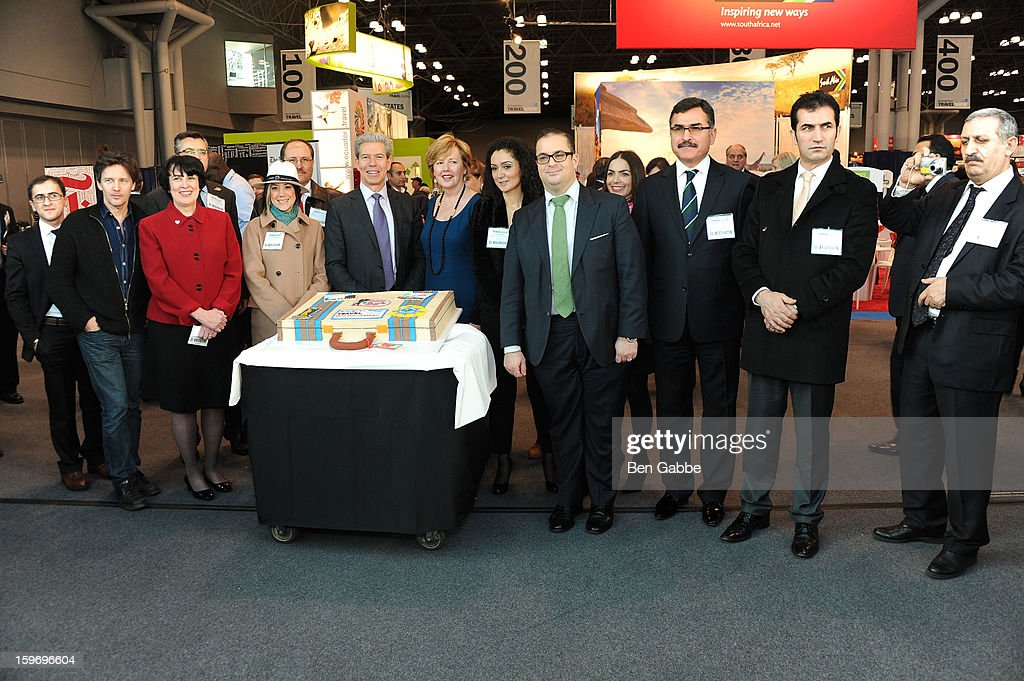 Andrew McCarthy, (C) Tony Gonchar and (C) Seth Rogin attend The 10th Annual New York Times Travel Show Ribbon Cutting And Preview at Javits Center on January 18, 2013 in New York City.