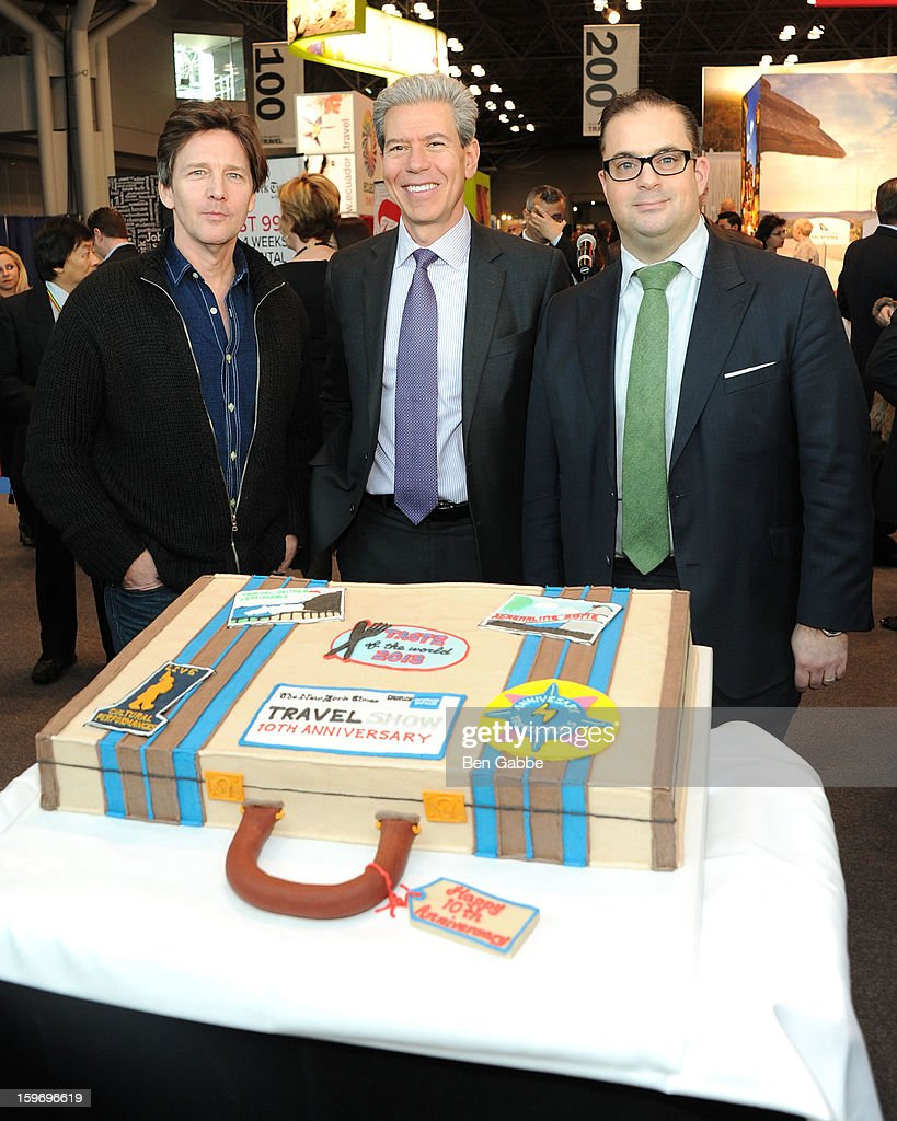 Andrew McCarthy, Tony Gonchar and Seth Rogin attend The 10th Annual New York Times Travel Show Ribbon Cutting And Preview at Javits Center on January 18, 2013 in New York City.