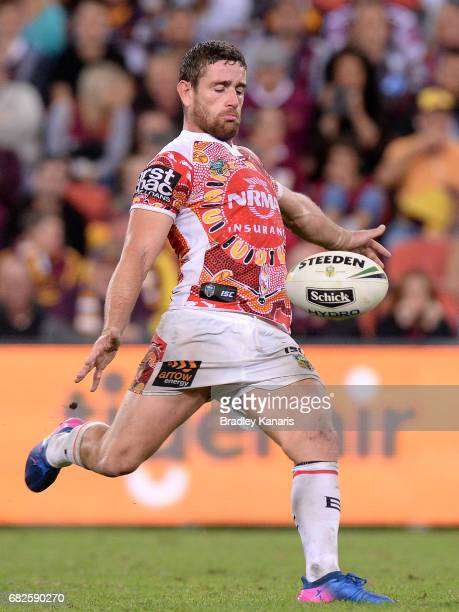 Andrew McCullough of the Broncos kicks the ball during the round 10 NRL match between the Manly Sea Eagles and the Brisbane Broncos at Suncorp...