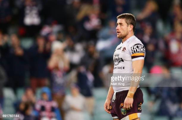 Andrew McCullough of the Broncos looks dejected at fulltime during the round 13 NRL match between the Sydney Roosters and the Brisbane Broncos at...