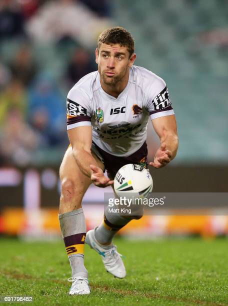Andrew McCullough of the Broncos passes during the round 13 NRL match between the Sydney Roosters and the Brisbane Broncos at Allianz Stadium on June...