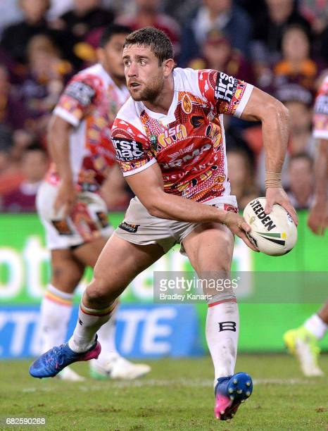 Andrew McCullough of the Broncos passes the ball during the round 10 NRL match between the Manly Sea Eagles and the Brisbane Broncos at Suncorp...