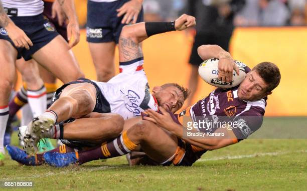 Andrew McCullough of the Broncos scores a try during the round six NRL match between the Brisbane Broncos and the Sydney Roosters at Suncorp Stadium...