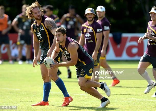 Andrew McCullough runs with the ball during a Brisbane Broncos NRL training session on March 1 2017 in Brisbane Australia
