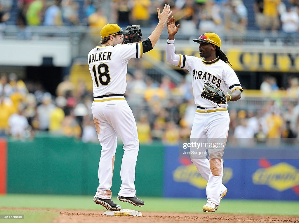 <a gi-track='captionPersonalityLinkClicked' href=/galleries/search?phrase=Andrew+McCutchen&family=editorial&specificpeople=2364814 ng-click='$event.stopPropagation()'>Andrew McCutchen</a> #22 celebrates with Neil Walker #18 of the Pittsburgh Pirates after a 6-2 win over the Philadelphia Phillies on July 6, 2014 at PNC Park in Pittsburgh, Pennsylvania.