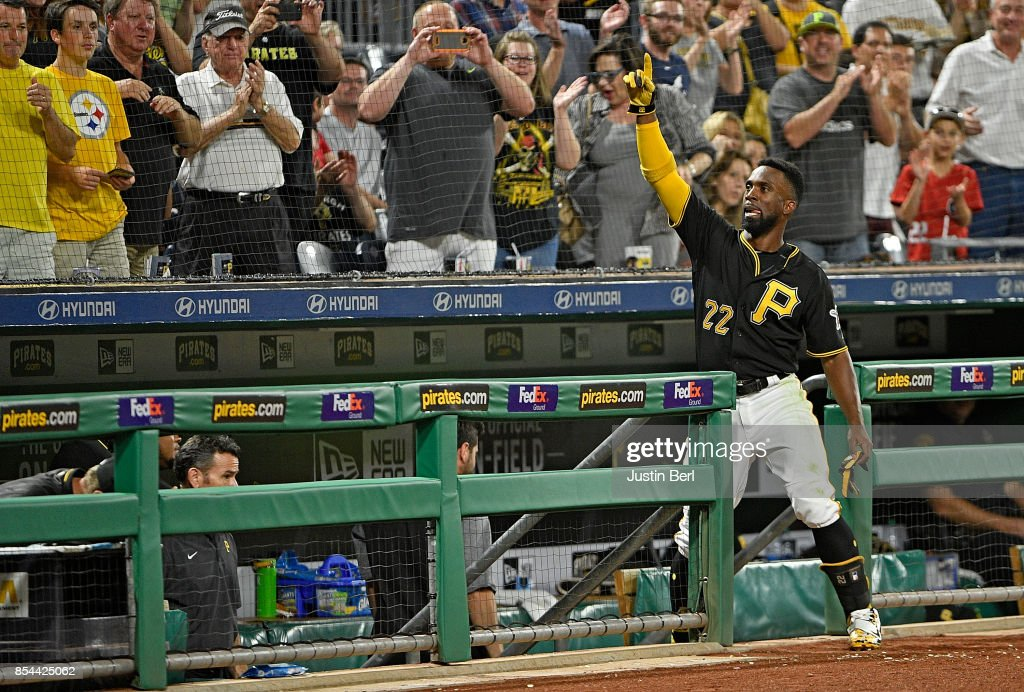 Andrew McCutchen #22 of the Pittsburgh Pirates acknowledges the fans with a curtain call after hitting a three run home run in the sixth inning during the game against the Baltimore Orioles at PNC Park on September 26, 2017 in Pittsburgh, Pennsylvania.