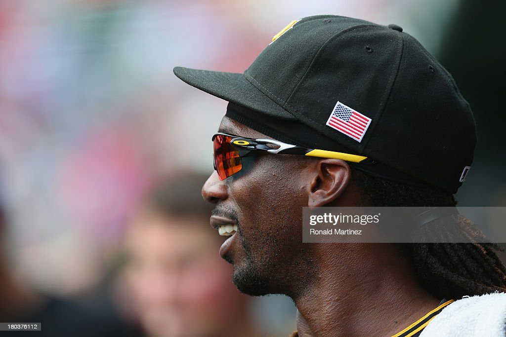 <a gi-track='captionPersonalityLinkClicked' href=/galleries/search?phrase=Andrew+McCutchen&family=editorial&specificpeople=2364814 ng-click='$event.stopPropagation()'>Andrew McCutchen</a> #22 of the Pittsburgh Pirates at Rangers Ballpark in Arlington on September 11, 2013 in Arlington, Texas.