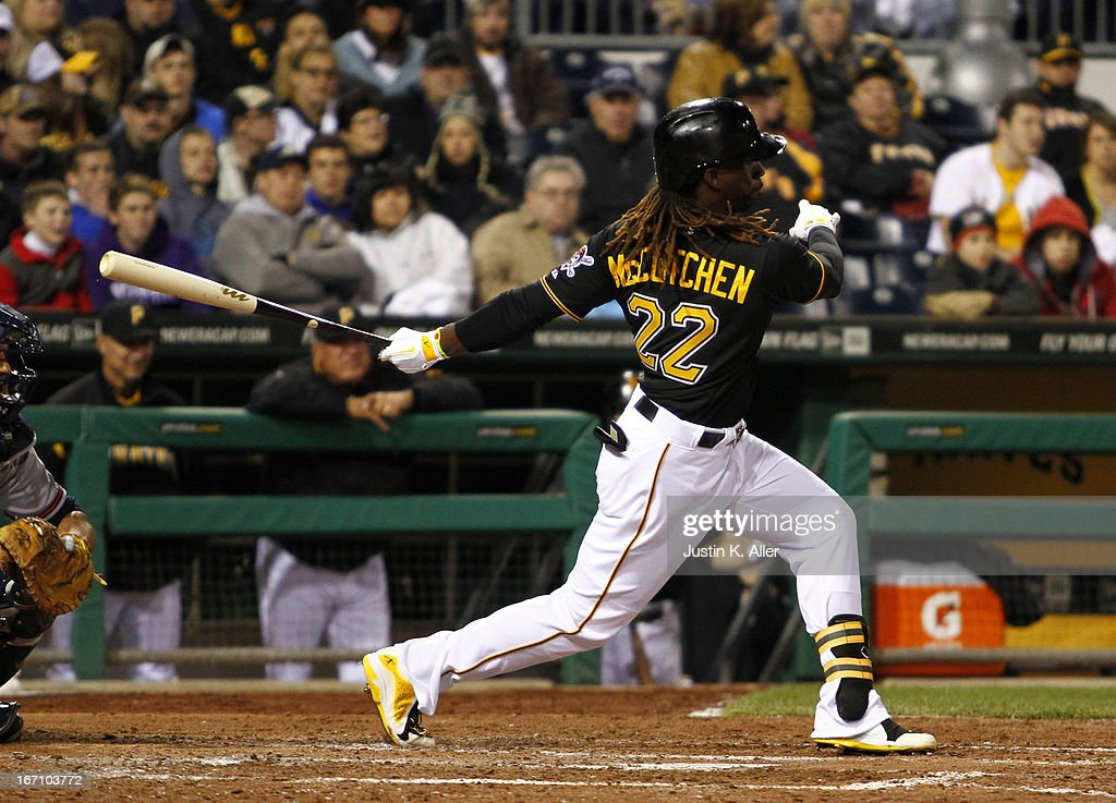 Andrew McCutchen #22 of the Pittsburgh Pirates bats against the Atlanta Braves on April 19, 2013 at PNC Park in Pittsburgh, Pennsylvania.