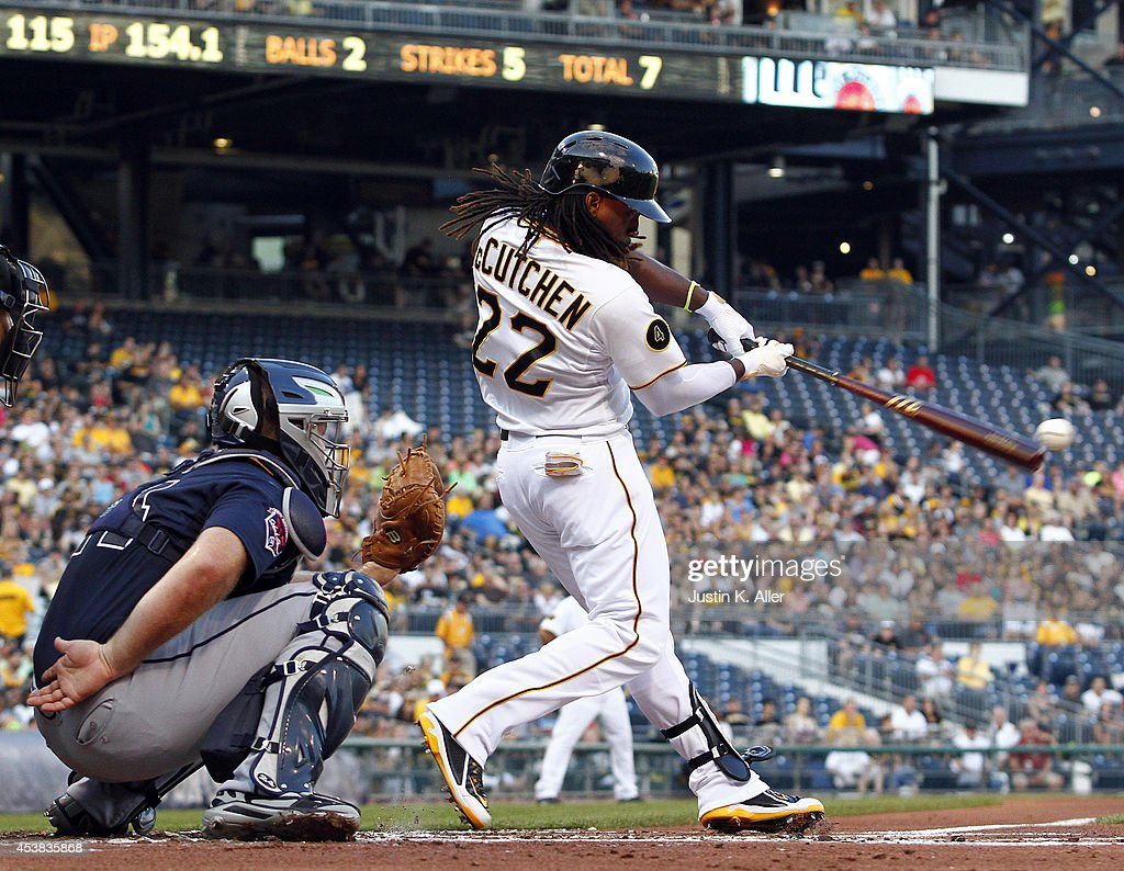 <a gi-track='captionPersonalityLinkClicked' href=/galleries/search?phrase=Andrew+McCutchen&family=editorial&specificpeople=2364814 ng-click='$event.stopPropagation()'>Andrew McCutchen</a> #22 of the Pittsburgh Pirates bats in the first inning after after being on the disabled list during the game against the Atlanta Braves at PNC Park on August 19, 2014 in Pittsburgh, Pennsylvania.