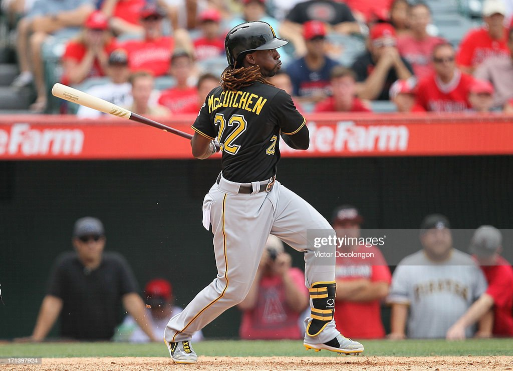 Andrew McCutchen #22 of the Pittsburgh Pirates bats in the ninth inning during the MLB game against the Los Angeles Angels of Anaheim at Angel Stadium of Anaheim on June 23, 2013 in Anaheim, California. The Pirates defeated the Angels 10-9 in ten innings.