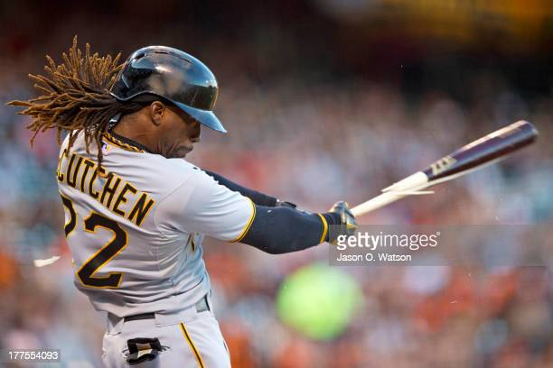 Andrew McCutchen of the Pittsburgh Pirates breaks his bat on a single against the San Francisco Giants during the first inning at ATT Park on August...