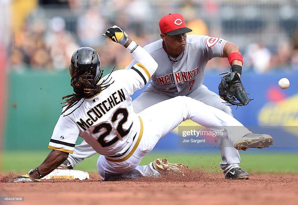 Andrew McCutchen #22 of the Pittsburgh Pirates breaks up a double play attempt by Ramon Santiago #7 of the Cincinnati Reds during the sixth inning on August 31, 2014 at PNC Park in Pittsburgh, Pennsylvania.
