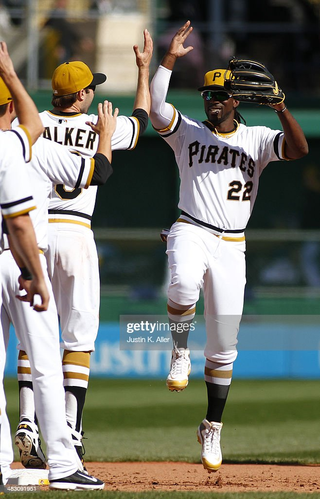 Andrew McCutchen #22 of the Pittsburgh Pirates celebrates after defeating the St Louis Cardinals at PNC Park April 6, 2014 in Pittsburgh, Pennsylvania. The Pirates defeated the Cardinals 2-1.