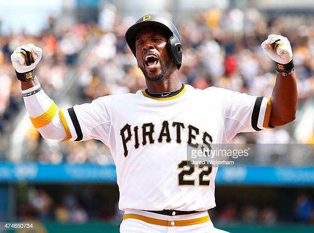Andrew McCutchen of the Pittsburgh Pirates celebrates following his tworun home run in the fifth inning against the New York Mets during the game at...
