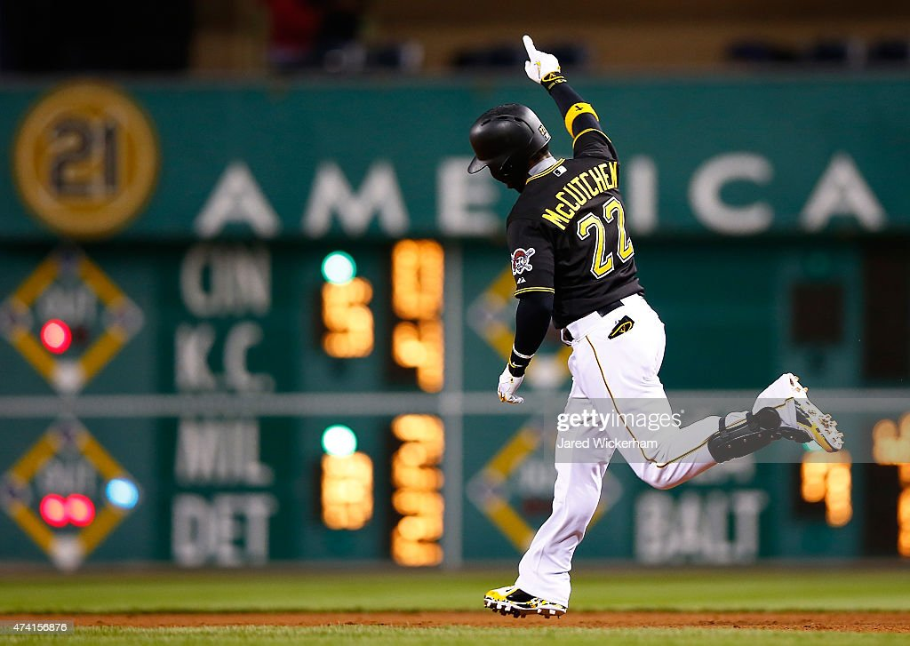 <a gi-track='captionPersonalityLinkClicked' href=/galleries/search?phrase=Andrew+McCutchen&family=editorial&specificpeople=2364814 ng-click='$event.stopPropagation()'>Andrew McCutchen</a> #22 of the Pittsburgh Pirates celebrates his game-tying solo home run in the eighth inning against the Minnesota Twins during the game at PNC Park on May 20, 2015 in Pittsburgh, Pennsylvania.
