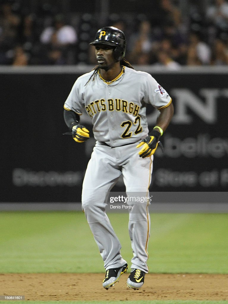 <a gi-track='captionPersonalityLinkClicked' href=/galleries/search?phrase=Andrew+McCutchen&family=editorial&specificpeople=2364814 ng-click='$event.stopPropagation()'>Andrew McCutchen</a> #22 of the Pittsburgh Pirates during a baseball game against the San Diego Padres at Petco Park on August 20, 2012 in San Diego, California.
