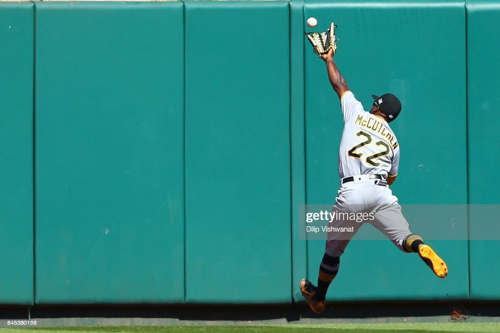 Andrew McCutchen #22 of the Pittsburgh Pirates fails to catch a fly ball against the St. Louis Cardinals in the sixth inning at Busch Stadium on September 10, 2017 in St. Louis, Missouri.