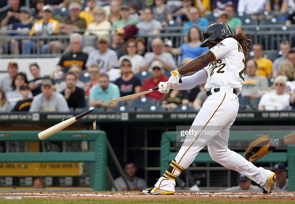 <a gi-track='captionPersonalityLinkClicked' href=/galleries/search?phrase=Andrew+McCutchen&family=editorial&specificpeople=2364814 ng-click='$event.stopPropagation()'>Andrew McCutchen</a> #22 of the Pittsburgh Pirates gets a broken-bat double in the first inning against the Atlanta Braves during the game on April 18, 2013 at PNC Park in Pittsburgh, Pennsylvania.