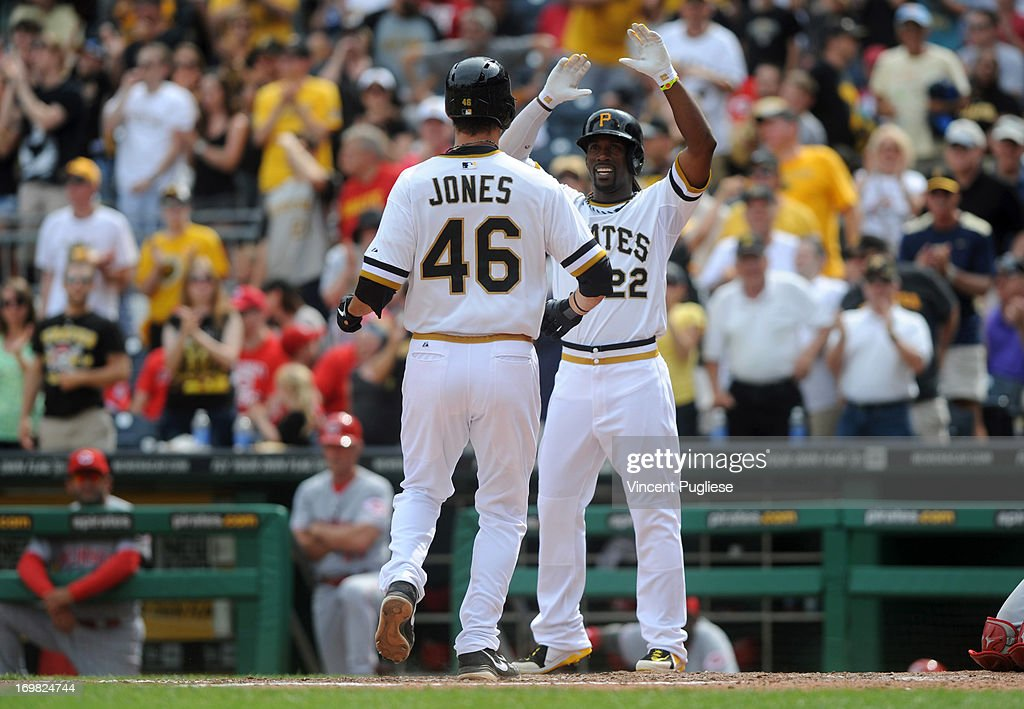 <a gi-track='captionPersonalityLinkClicked' href=/galleries/search?phrase=Andrew+McCutchen&family=editorial&specificpeople=2364814 ng-click='$event.stopPropagation()'>Andrew McCutchen</a> #22 of the Pittsburgh Pirates greets <a gi-track='captionPersonalityLinkClicked' href=/galleries/search?phrase=Garrett+Jones&family=editorial&specificpeople=835861 ng-click='$event.stopPropagation()'>Garrett Jones</a> #46 of the Pittsburgh Pirates after hitting a home run to tie the game at 4-4 in the eighth inning against the Cincinnati Reds at PNC Park on June 2, 2013 in Pittsburgh, Pennsylvania.