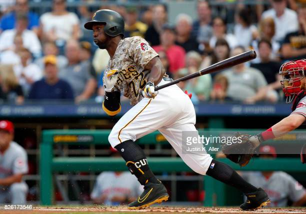 Andrew McCutchen of the Pittsburgh Pirates grounds out scoring a run in the first inning against the Cincinnati Reds at PNC Park on August 3 2017 in...