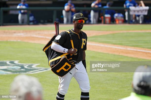 Andrew McCutchen of the Pittsburgh Pirates heads to the clubhouse after finishing up his playing time during a Grapefruit League spring training game...